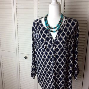 Charter club woman blouse with gold snaps 3x plus